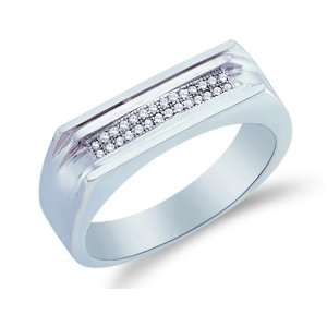 Size 10   10K White Gold Diamond Two Rows MENS Wedding Band Ring   w