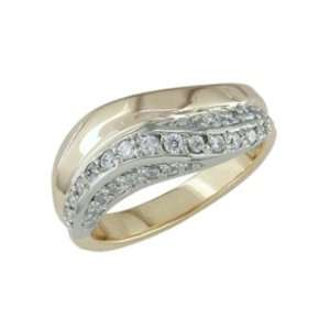 Feisty   size 12.25 14K Gold Two Tone Half Carat Diamond Ring Jewelry