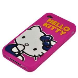 Hello Kitty Hot Pink Soft Silicone Back Cover Case for Apple iPhone 4