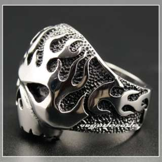 Cool 316L Stainless Steel Fire Skull Men`s Biker Ring 3F002