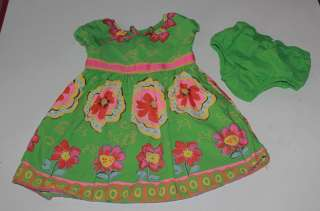 EUC Genuine Kids green floral dress girls 12 18 24