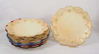 11 PRETTY ROYAL WORCESTER GILT PORCELAIN FLORAL PLATES 1889