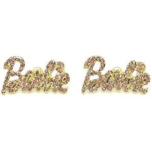 Nicki Minaj Barbie Iced Out Crystal Earrings Gold Color With Pink