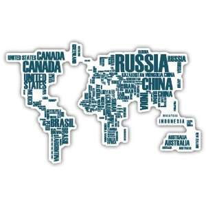 World Map Car Bumper Sticker Decal 6 X 3 Everything