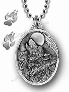 WOLF MOON DOG EAGLE FEATHER PENDANT NECKLACE WOLVES p*