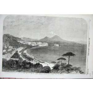 View Bay Naples Posilipo Beach Sea Town 1856 Itlay Art