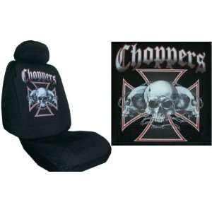 Car Truck SUV Choppers Skull Barbed Wire Print Seat Covers