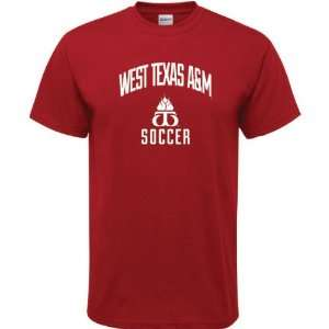 West Texas A&M Buffaloes Cardinal Red Soccer Arch T Shirt