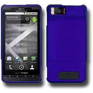 New Amzer Rubberized Blue Snap On Case For Verizon Motorola Droid X