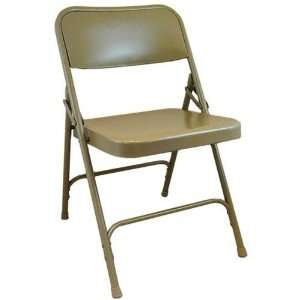 Advantage Beige Metal Folding Chair   Heavy Duty