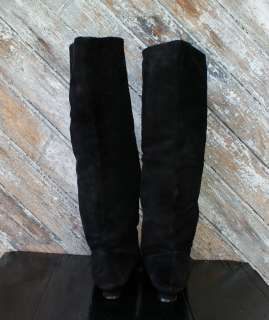 Vintage Black Suede Leather Shoe Boots 9.5 10 Knee High Cuff SEQUIN