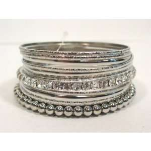 Silver Tone Multi Bangle Bracelet Set Fashion Jewelry with Crystals