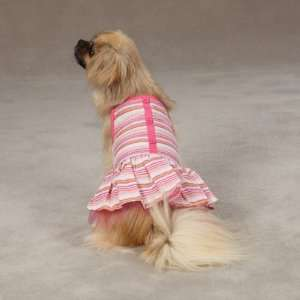 MEDIUM   PINK   Striped Seersucker Dog Dresses