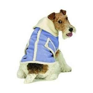 SHEARLING FAUX SUEDE DOG COAT Blue Small