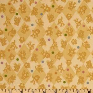 44 Wide Special Delivery Teddy Bear Toss Gold Fabric By