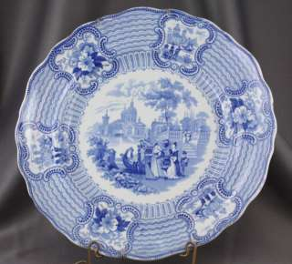 Antique Flow Blue Transferware China Dinner Plate Adams Bologna