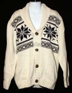 Gymboree SKI CABIN Boys Ivory Snowflake Cardigan Sweater 5 6 Years 5T