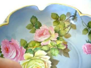 Noritake hand painted bowl with gold accents and roses   lobed form