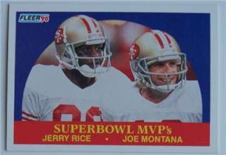1990 Fleer JOE MONTANA & JERRY RICE SUPER BOWLS MVPS