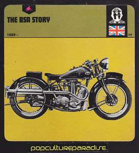 BSA MOTORCYCLE HISTORY PICTURE CARD 1935 BSA Blue Star