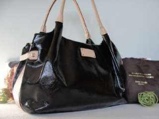 New York~$395~BLACK PATENT LEATHER Stevie Vachetta Polka Dot BAG Tote