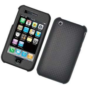 BLACK CARBON FIBER FABRIC LEATHER SNAP ON HARD SKIN FACEPLATE PHONE