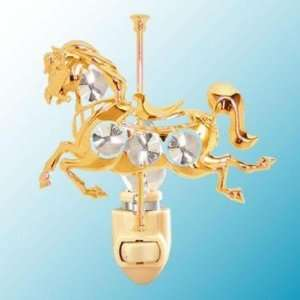 24k Gold Carousel Horse Night Light   Clear Swarovski Crystal Baby