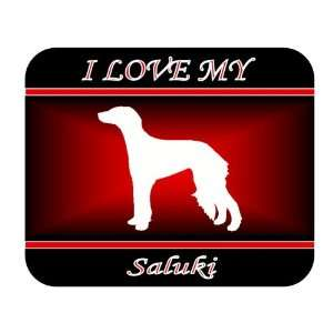 I Love My Saluki Dog Mouse Pad   Red Design Everything