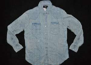 RRL RALPH LAUREN DOUBLE RL BLUE DENIM WESTERN SHIRT L