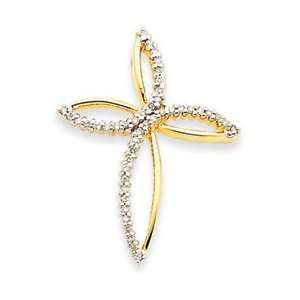 14k Yellow Gold Diamond Cross Pendant Jewelry