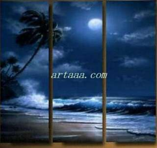 Moonlit night modern abstract wall art oil painting  Home