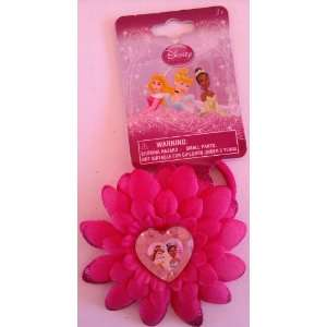DISNEY PRINCESS PINK FLOWER HAIR PONY WITH CHARM