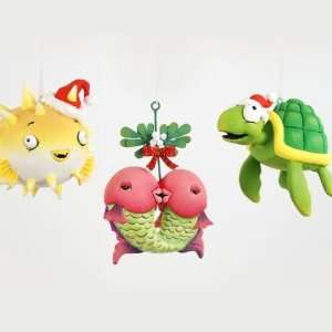 Turtle & Kissing Carp Christmas Ornament Set of 3