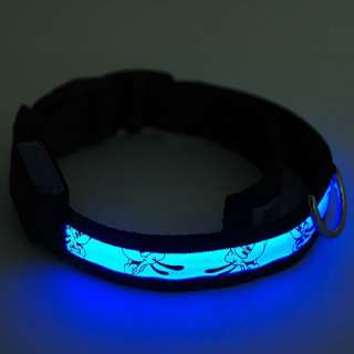 LED Optical Fiber Light Adjustable Lockable Nylon Pet Dog Collar Leash