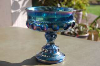 INDIANA CARNIVAL GLASS KINGS THUMBPRINT CANDY DISH BLUE COMPOTE