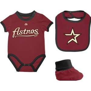 Houston Astros Newborn Red Triple Play 3 Pack Bib, Bootie, and Creeper