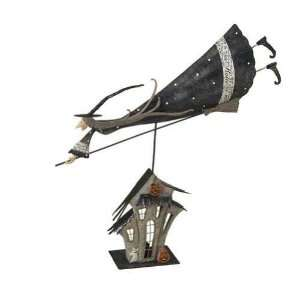 Large Metal Folk Art Witch on Top of House Tealight Holder