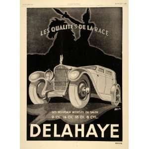 1929 Ad Delahaye Cars Automobiles French Race Art Deco