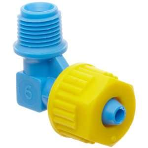 Tube Fitting, 90 Degree Elbow Adapter, Yellow/Blue, 1/2 Tube OD x 1/2