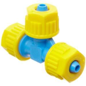 Compression Tube Fitting, Tee, Yellow/Blue, 1/4 Tube OD (Pack of 5