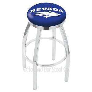 Nevada Wolf Pack Logo Chrome Swivel Bar Stool Base with Flat Accent