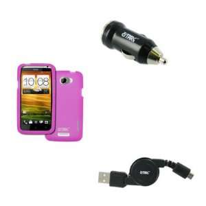EMPIRE HTC One X Silicone Skin Case Cover (Hot Pink) + USB Car Charger