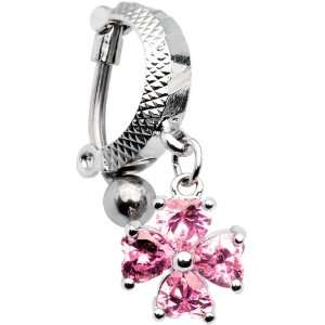 Top Drop Pink Gem Cross Tummy Huggy Belly Ring Jewelry
