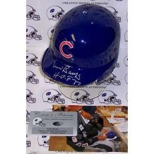 Chicago Cubs Ernie Banks Hand Signed Mini Helmet Sports