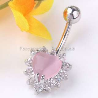 14G PINK Cats Eye Stone Crystal Heart Navel Ring New*1