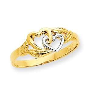 Double Heart Cut Out Ring in 14k Yellow Gold Jewelry
