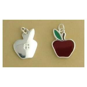 Silver Charm, Red/Green Enamel Apple, 3/4 inch, 3.1 grams Jewelry
