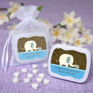Blue Baby Elephant   Personalized Mint Tin Baby Shower Favors Baby