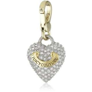 Juicy Couture Charms Gold Tone Puffed Pave Heart Charm   designer