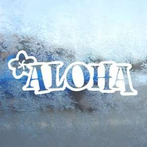 Aloha Hawaii White Decal Car Laptop Window Vinyl White